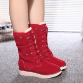 Nova moda mulheres neve botas de camurça do falso pêlo amarrado a dobra do dedo do pé redondo baixo botas casuais de fixação