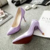Nova moda mulheres bombas couro cor dos doces apontou Toe sapatos de salto alto sapatos simples