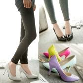 Nuova moda donne pompe in vernice Color caramella Pointed Toe tacchi alti scarpe semplice