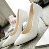 Nueva moda mujeres bombas de charol Color caramelo señaló zapatos zapatos de tacón alto Simple