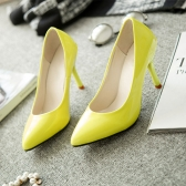 New Fashion Women Pumps Patent Leather Candy Color Pointed Toe High Heels Simple Shoes