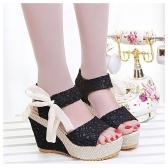Nova moda verão laço cunhas Alto Peep Toe plataforma Slingback único sapatos sandálias preto