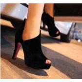 Nuevas mujeres Sexy tacones recorte Peep Toe plataforma zapatos suela bombas negro