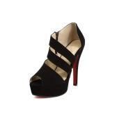 Moda mujer Sexy tacones Peep Toe plataforma zapatos suela bombas negro