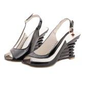 Moda mulheres Cunha salto sandálias patente PU painel transparente fivela cinta aberto Toe sapatos novos