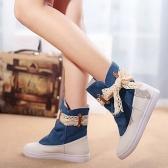 Neue Mode Frauen flache Stiefel Lace Knot Denim Patchwork Slip auf Runde Stulpen lässig Bootie blau / dunkel blau