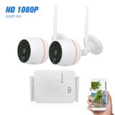 4CH Wifi Mini NVR Kit Video Surveillance TF Card Record with 2PCS 1080P Wireless IP Camera Set