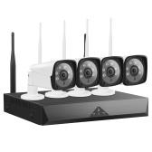 Sistema de câmera de segurança sem fio 1080P 4CH, NVR de 4 canais com 4pcs 1080P wi-fi doméstico para câmera de segurança de vigilância com suporte para visão noturna, IP66 à prova d