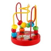 木製漫画動物シャーシシマウマパターンのサークルミニビーズ子供のための迷路教育玩具ハンドアイコーディネートおもちゃ