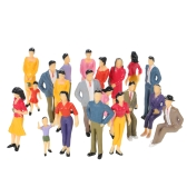 20 Pcs Scale 1:25 Building Layout Mix Painted Model People Train Street Passenger Figures