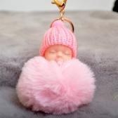 Cute Nipple Hat z dzianiny Sleeping Baby Doll Fake Fur Fluffy Keychain