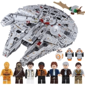 Caja original LEPIN 05132 8445pcs Star Wars Nave espacial Ultimate Millennium Falcon Force Despierta Bloques de construcción Kit Set