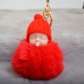 Niedlicher Nippel-Strickmütze-schlafender Babypuppe-Kunst-Pelz-flaumiges Keychain