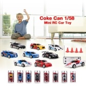 Create Toys 2010B Coke Can 1/58  Mini RC Car Toy 2CH Remote Control Electric Car - 8 Types Randomly Delivered