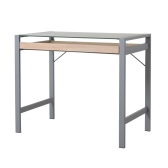 Modern Wood Steel Frosted Glass Computer Desk Writing Table w/ Drawer