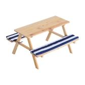Mesa de picnic de madera para niños al aire libre con bancos acolchados