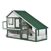 "Pawhut 76"" Wooden Chicken Coop w / Run Nesting Box and Wheels - Green and White"