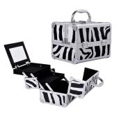 Gespiegelte Mini Professional Makeup Tasche mit herausziehbarem Tablett - Zebra Print