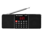 Y-618 Mini FM Radio Digital Portable Dual 3W Alto-falante estéreo MP3 Audio Player Qualidade de som de alta fidelidade com tela de tela de 2 polegadas Suporte USB Drive TF Card AUX-IN Earphone-out