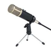 Microfone Condensador Profissional com Reverberação Echo Sponge Cover Clip Tripod