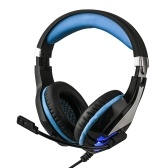 HS063 Game Headphones Over Ear Gaming Headset Wired Earphones with Microphone Volume Control LED Light Compatible with PS4 Computer Tablet PC Mobile Phones