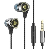 QKZ SK1 3.5mm Wired In-ear Headphones Metal Heavy Bass Music Earphone Dynamic Headset One Button Remote Hands-free with Microphone