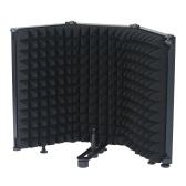 Изолирующий экран микрофона 3-панельный складной ветрозащитный экран для студийной записи, пения, прямой трансляции, поглощающая губка высокой плотности