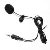 Externe Clip-sur Revers Lavalier Microphone 3.5mm Jack pour Téléphone Mains Libres Câblé Condensateur Mic pour Enseignement Discours Noir