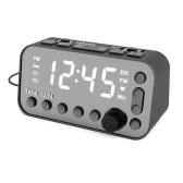 DAB & FM Radio Digital Alarm Clock LCD Backlight Dual USB Port Sleep Timer for Office Bedroom Travel