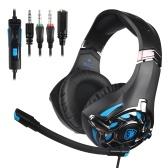 SADES 3.5mm Auriculares para juegos con cable en la oreja Auriculares para juegos con micrófono Control de volumen para PC Portátil Teléfono inteligente
