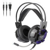 Kubite K1000 3.5mm Wired Gaming Headphones Over Ear Headset Surround Sound Earphone with Microphone for Desktop Computer PC