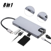 8 в 1 USB-концентратор Адаптер Type-C PD Порт USB для зарядки