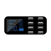 A9S Fast Car Charger 8 Port Multi USB LCD Display 12V Phone Charger USB Hub for Phone Tablets DVR