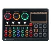 X6mini Внешняя звуковая карта для живых выступлений Мини-плата микшера для потоковой передачи музыки Запись караоке Пение Цветная подсветка Кнопки с 14 спецэффектами Подключение BT для смартфона, ноутбука, ПК