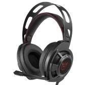 ONIKUMA Gaming Headset Auscultadores estéreo de 3,5 mm com controle de volume de microfone retrátil Cancelamento de ruído LED Lights para PC
