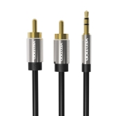 VENTION RCA Jack Cable 3.5mm Jack to 2 RCA Audio Cable 1.5m 2RCA Cable For Edifer Home Theater DVD RCA to 3.5mm AUX Cable Black-1.5 Meter