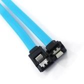 Cordon de câble 18 pouces SATA III 6.0 Gbps avec loquet de verrouillage, fiche à 90 degrés, fil bleu