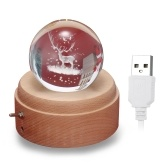 Vintage 3D Music Box Crystal Ball Wooden Luminous Music Case with Projection LED Light  BT speaker Children Toy Decor Christmas Festival Presents Birthday Gifts