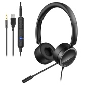 New Bee H360 3.5mm/USB Wired Telephone Headset with Microphone