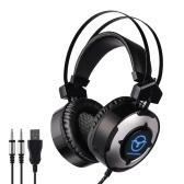 Mingougamin m1 gaming pc fones de ouvido 3.5mm fone de ouvido com fio sobre o jogo de ouvido fone de ouvido com microfone colorido led light controle de volume para pc portátil ps4 novo xbox one