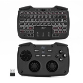 Rii RK707 2.4GHz Wireless Game Controller Keyboard Mouse Combo with Touchpad White Backlit Turbo Vibration Function