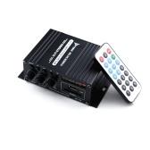 AK370 12V Mini Audio Усилитель мощности BT Цифровой аудиоприемник AMP Слот для карты памяти USB MP3-плеер FM-радио ЖК-дисплей с пультом дистанционного управления Двухканальный 20 Вт + 20 Вт Регулятор громкости низких частот для автомобильного домашнего использования