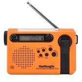 Rádio portátil de emergência HanRongDa com manivela solar de emergência Rádio de emergência doméstico e externo com AM / FM / SW Lanterna LED 2000mAh Power Bank SOS Alarm