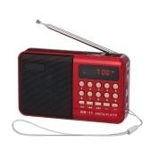 Mini-FM-Radio Tragbarer MP3-Player TF-Karte U Festplattenwiedergabe Eingebauter Lautsprecher 3,5-mm-Kopfhöreranschluss Rot
