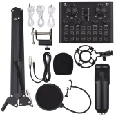 Multifunctional Live Sound Card Condenser Microphone Kit Audio Mixer USB Game DSP Recording for Computer PC Smartphone Live Streaming Recording