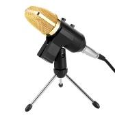 Professionelle Kondensator-Mikrofon Studio Sound Recording Broadcasting mit Nachhall-Echo-Funktion mit Anti-Wind-Schwamm Cover Clip Stand