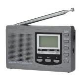 FM / AM / SW Rádio Multibanda Digital Stereo Receiver Receiver Display de Tempo de Saída do Fone de Ouvido Relógio Externo Rotativo Antena