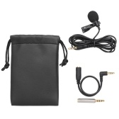 3.5mm Mini Collar Microphone 1.5m Wires Clip Lapel Microphone High Sensitivity Mic with Storage Bag for Smart Phone Laptop PC
