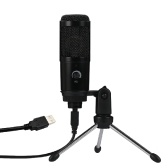 Microfono a condensatore Microfono USB Registrazione karaoke Trasmissione Podcasting con Clip treppiede Plug and Play per PC desktop portatile