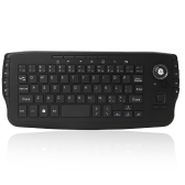 E30 2.4GHz Wireless QWERTY Keyboard with Trackball Mouse Black